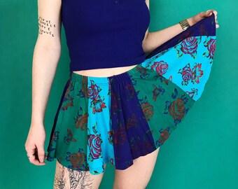90's Floral Panel Miniskirt Full Circle Tennis Skirt Small - Green Blue Printed Girly Full Skirt Elastic Waist Sporty Schoolgirl Rose Print