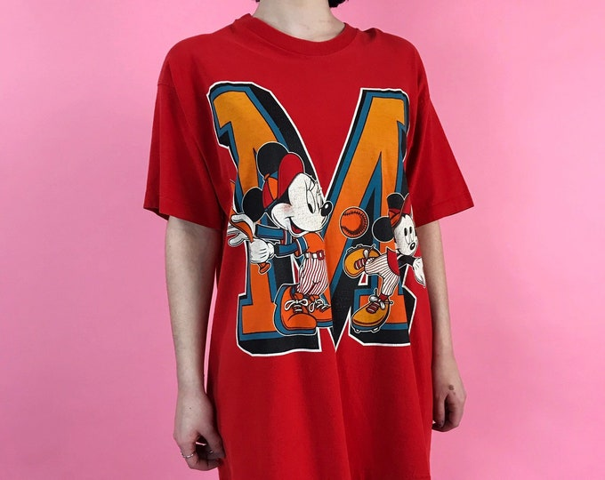 90's Mickey & Minnie Mouse Long Sleep Tee One Size - Red Disney Baseball Graphic VTG Shirtdress T-shirt Oversized Shirt Cartoon Night Gown