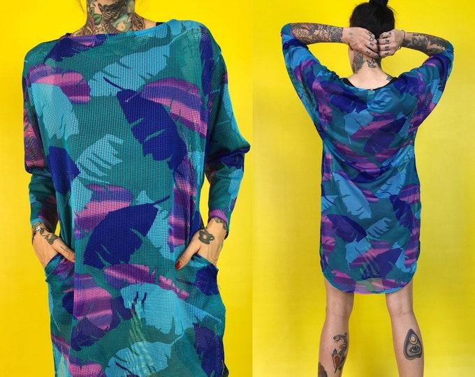 80's Tropical Print Mesh Beach Dress S/M - Blue Purple Printed See Through Mesh Shirt Dress - VTG Summer Abstract Long Sleeve Cover Up