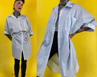 80's Vertical Striped Long Line Button Down Shirt Dress - Pastel Vertical Striped White Blue Casual Oversized Sleep Shirt Blouse With Collar