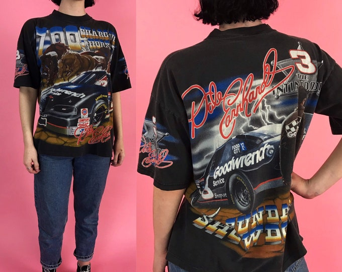 90's Dale Earnhardt NASCAR Tee Large - Double Sided Colorful Racing Shirt 700 Charging Horses Sunday Showdown - VTG Collectors Sports Shirt