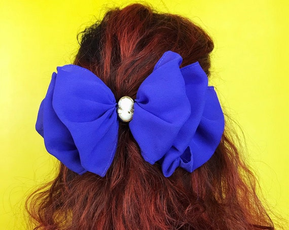90's Royal Purple Cameo Oversized Hair Bow French Clip - Vintage Statement Hair Barrette - Big Girly Feminine Hipster Nineties Accessory