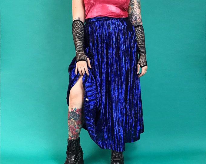 "80's Midnight Blue Metallic Long High Party Skirt Medium 34"" High Waist - Vintage New Years Statement Formal Long Flowy Sparkle Fest Skirt"