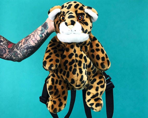 Mini Leopard Cat Backpack Purse - CUTE Plush Stuffed Animal Cheetah Purse - 90s Animal Backpack Kawaii Cute Plushie Mini Statement Purse
