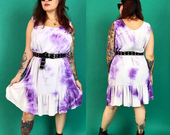 80's Vintage Tie Dye Drop Waist Layering Dress Dress Large - Purple Hand Dyed Ruffle Hem Knee Length Hippie FUNKY Boho Statement Festival