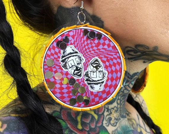 Handmade CLOWN Vinyl Confetti Hand Stitched Sparkly Statement Earrings - Fun Sad Clown Oversized Dangly Round Party Jewelry Disk Earrings