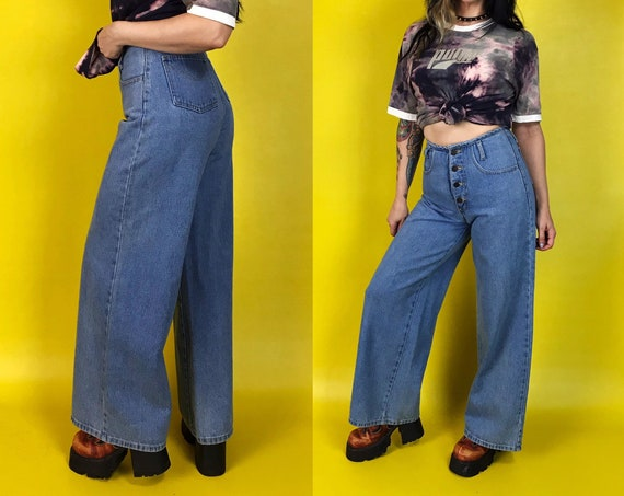 "90's High Waisted Wide Leg Jeans Size Small 27"" - Blue Denim Button Front High Waisted Boho Hippie Everyday Pants - Baggy High Rise Jeans"
