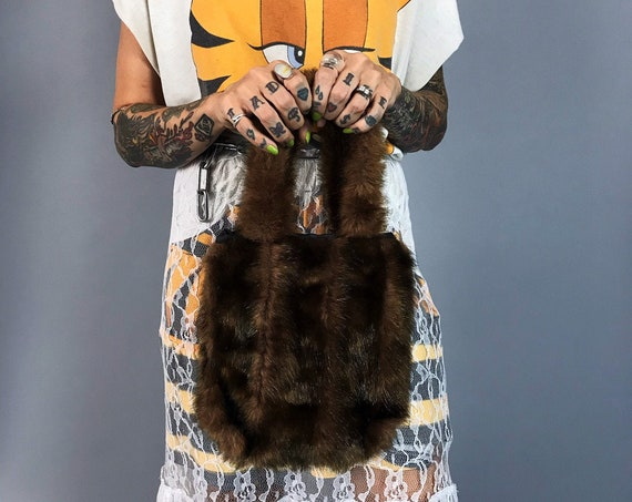 90's Y2K Faux Fur Brown Fuzzy Top Handle Purse - Soft Furry Small Mini Bag Cute Grunge Handbag - Fall Winter Shaggy Fake Fur Everyday Bag