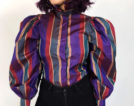 80's Vintage Striped Puffy Sleeve Statement Blouse S/M - High Fashion Ruffle Collar Puffy Fancy Dressy Formal Button Up Polyester Shirt