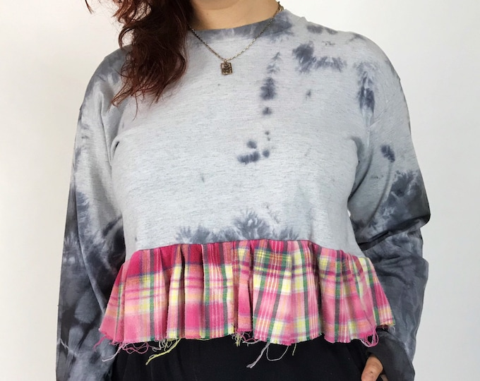 Upcycled Cropped Long Sleeve Ruffle Peplum Shirt Large - Remade TIE DYE Grunge Unique One Off Frayed Funky Mixed Prints Fall Casual Plaid