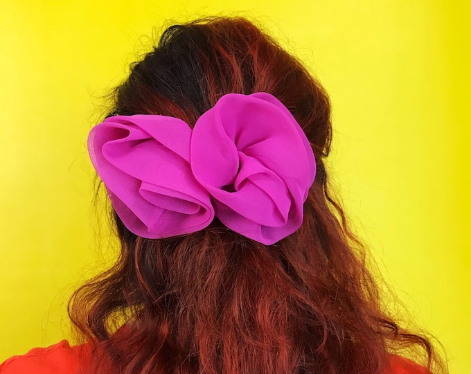 90's Bow Clip French Clip Hot Pink  - Basic Sheer Chiffon Giant Bow Clip Large Statement Hair Barrette - Cute Fun Nineties Preppy Girly Clip