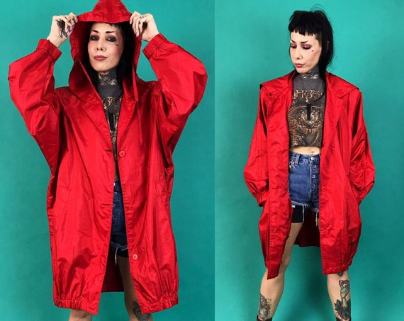 80's Long Red Hooded Windbreaker Rain Coat Women's Medium - Vintage Basic Thin Lightweight Rain Jacket - Button Front Baggy Long Oversized