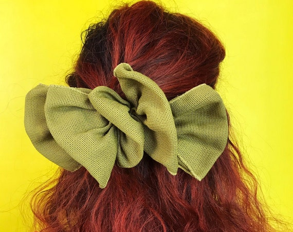 90's Olive Green Burlap Bow Clip Hair Barrette  - Oversized Pea Green BIG Hairbow - Vintage Oversized Big Bow Barrette Statement Accessory