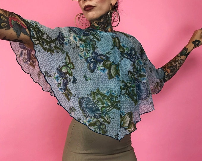 Handmade Butterfly Cape Bib Collar Blouse Small - Flowy Feminine Butterfly Flutter Sleeve Top - VTG One Off RARE Sheer Boho Sleeveless Top