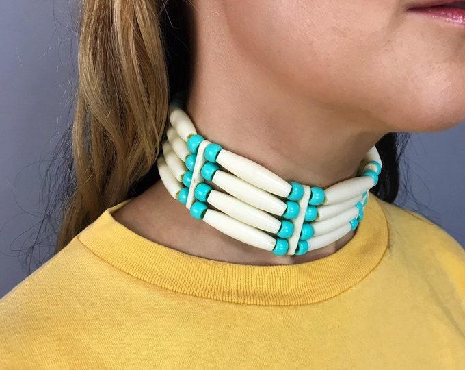 Vintage Native American Beaded Choker - Handmade Teal Blue Ivory Bone Style Beaded Necklace - Plain Beads Tie Back Statement Costume Jewelry