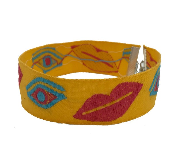 "Vintage Eyes & Lips Embroidered Choker - 1"" Thick Handmade Statement Necklace Yellow Upcycled Girly Weirdo Grunge Recycled Accessory Choker"