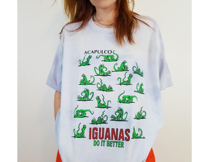 90's Iguanas Do It Better Animal Lovers Humor Tee - Funny Rude Sex Gag Tee - Cheeky Baggy Tiedye Blue T-shirt XL Large Mens Womens Shirt