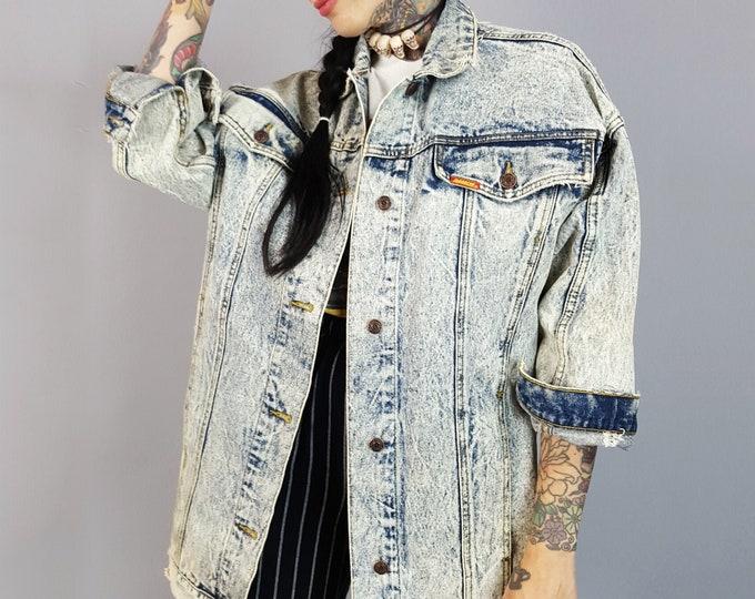 80's Long Denim Jacket Large Acid Wash - Distressed Soft Slouchy Faded Jean Jacket - Acidwash Denim Classic Vintage 1980s Unisex Coat