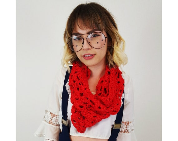 Handmade Red Cowl Circle Scarf - Boho Hipster Hand Knitted Recycled Fashion Accessory - Soft Warm Fall Ecofriendly Lace Womens Cowl Scarf