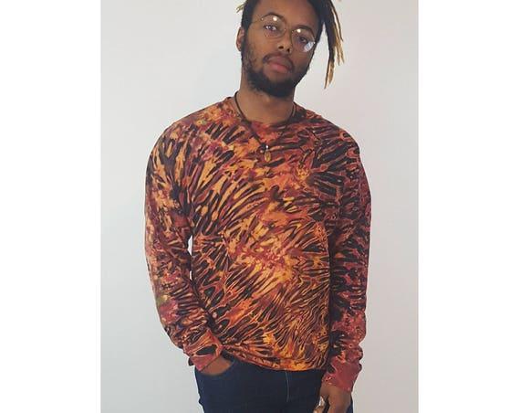 90s Vintage Tie Dye Long Sleeve Tee Large - Rust Orange Brown Cotton Dyed T-shirt - Hand Dyed Crewneck Longsleeve T-shirt Hippie Trippy