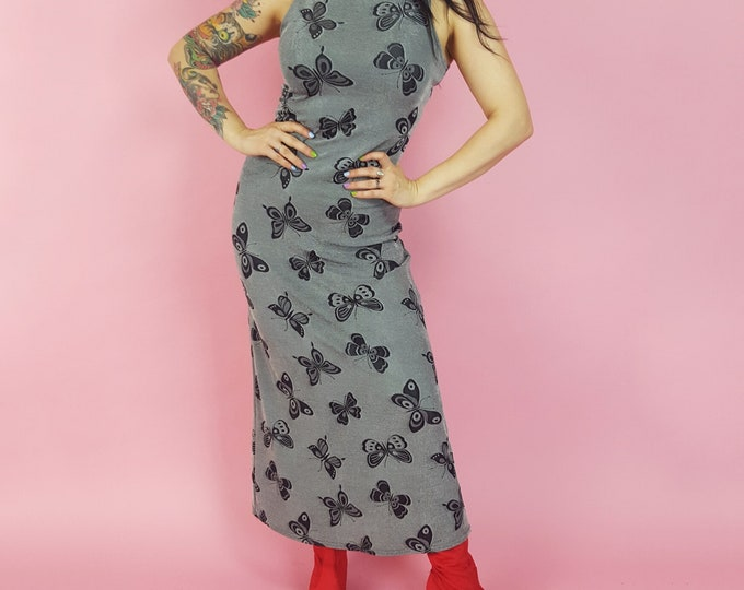 90's Grey Butterfly Print Maxi Dress - Small Stretchy Grunge Maxidress - 1990s Long Sleeveless Dress - Vintage Gray and Black Stretch Dress