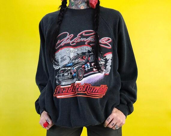 90's Dale Earnhardt NASCAR Pullover Sweatshirt Adult XL Plus - 50/50 Faded Black VTG Ready To Rumble Dale Earnhardt Sweater Unisex Crew Neck