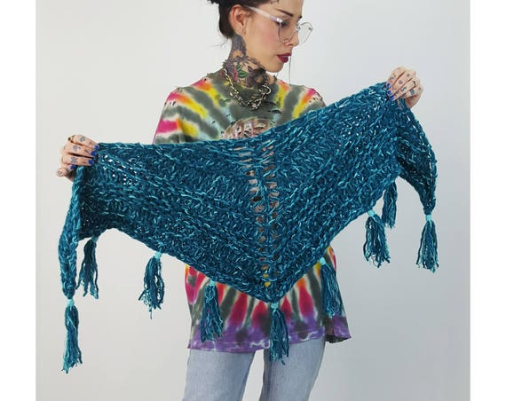 Electric Blue Chunky Stitch Knitted Shawl - Handmade Knit Wrap Scarf With Fringe - Bright Colorful Handknit Statement Neckwarmer Fall Tassel