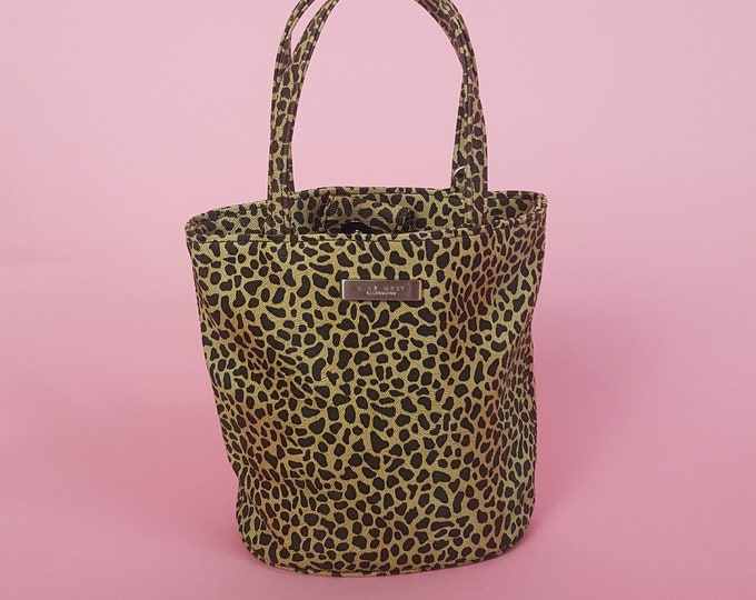 90's Tiny Leopard Print Purse - Small Faux Leather Mini Cute Clutch Bag - Extra Small Animal Print Tote Bag Party Purse