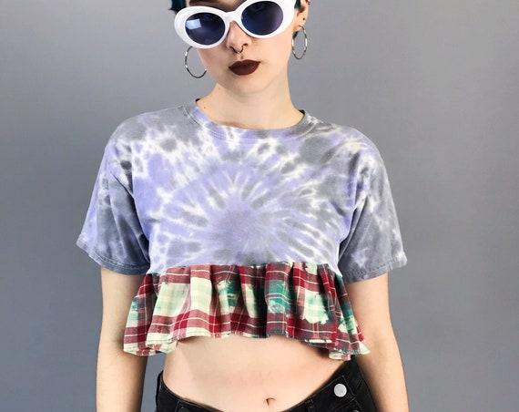Pulsar Peplum Handmade Ruffle Cropped Shirt XS - Remade TIE DYE Upcycled Vintage Crop Top - Kawaii Cute Girly Spring Summer Peplum T-Shirt