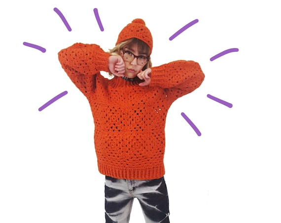 60s-70s Two Piece Wool Crochet Sweater + Cap - Small Orange Granny Square Sweater Top - Fall 2 Pc Set Coordinates Retro Beanie Beret Hat Tam