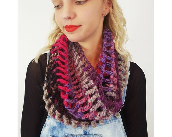 Handknit Handmade Pink Purple Circle Scarf Cowl - Boho Hipster Art Fashion Womens Accessory - Soft Warm Fall Upcycled Crochet Stripe Scarf