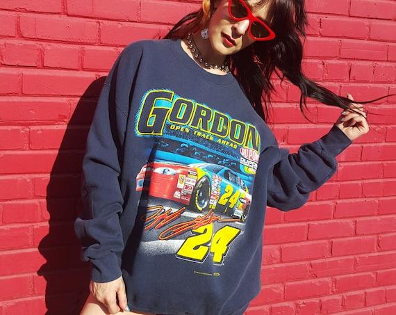 90's NASCAR Jeff Gordon Pullover Sweatshirt XXL Adult - Vtg Navy Blue #24 Racer Nascar Collectors Crew Neck Racing Sweatshirt Plus Size XL