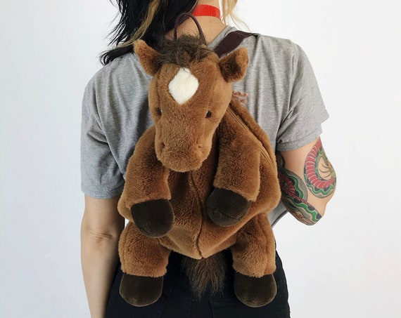 Horse Backpack Purse - Plush Stuffed Animal Cute Pony Purse - Stuffed Animal 90s Backpack Kawaii Cute Plushie Backpack Horse Tote/Purse
