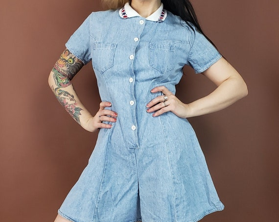 90s Vintage Denim Romper - Small Blue Jean Shorts Onepiece Jumpsuit - 1990s Vtg One Piece Button Up Collared Romper Playsuit