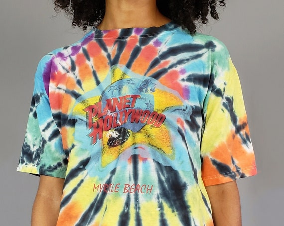 Tiedye 90s Vintage Planet Hollywood T-shirt- Tie Dyed Colorful 1990s Upcycled Vtg Tshirt - Graphic Tee Hand Tie Dye Rainbow Shirt