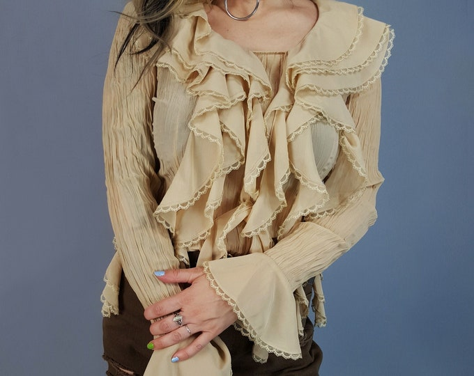 90s Tan Ruffle Shirt - Small Sheer Long Sleeve Collared Top - Vintage Womens Romantic Editorial Classic Puffy Shirt - Lacy Feminine Top