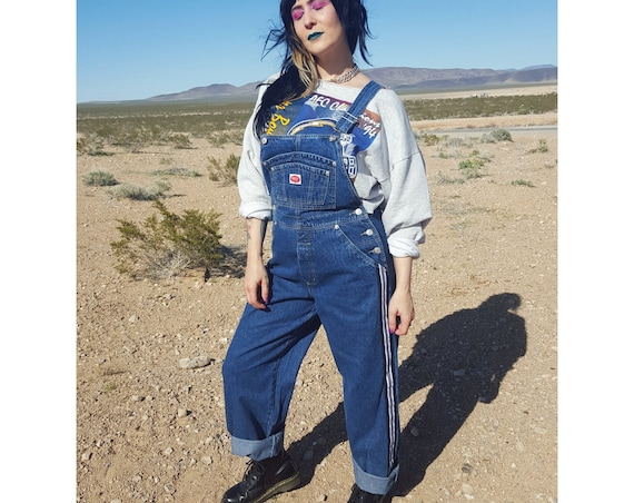 90's Vintage Deadstock Denim Overalls with Side Stripes Womens Medium - 1990s Pants Jumper Jean Jumpsuit Overall Rare VTG Dark Denim Onesie