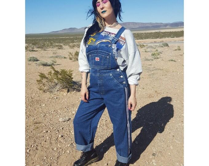 90's Vintage Deadstock Denim Overalls with Side Stripes Womens Medium - 1990s Pants Jumper Jean Jumpsuit Overall Rare VTG Dark Denim Onesie