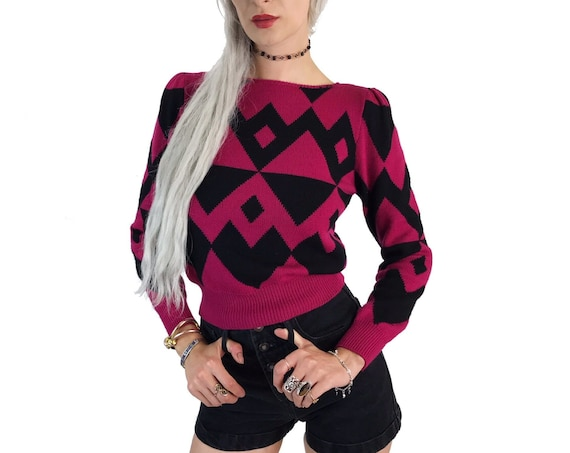 80's Black & Pink Abstract Knit Sweater Small - Diamond Print Retro Knitted Jumper Tight Pullover - Fun Girly Vintage Square Shoulder Detail