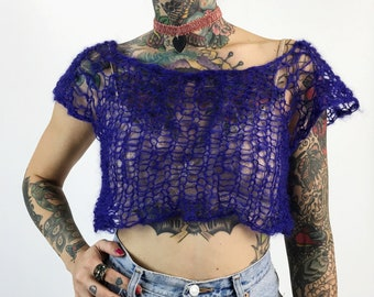 HANDMADE 90's Style Sheer Knit Top - Women's Small Purple Grunge Short Sleeve Shirt - Open See Through Eco Friendly Spring Summer Knit Top