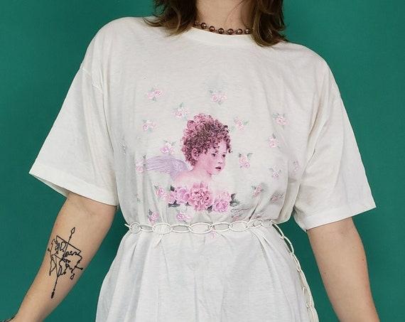 90s Vintage Angel T-Shirt Large XL - White Unisex 1990s Cartoon Cherub Tee - Angelic Romantic Pink Rose Pattern Sparkly Aesthetic Tee Shirt