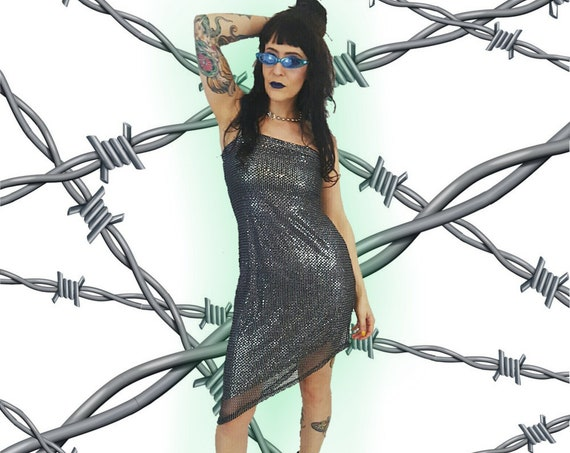 90s Womens Vintage Gray Silver Black Bodycon Dress - Small Sparkle Mini Sleeveless Dress - 1990s VTG Short Girly Summer Tank Dress
