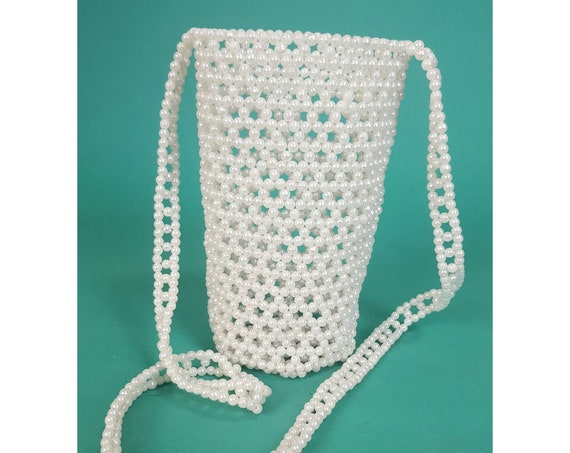 Vintage Pearl Tote Bag Purse - Dressy Pearls Evening Bag - Dainty Beaded Chain Shoulder Handbag - Retro Allover Beads Crossbody Bag