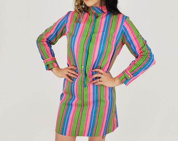 60's/70's Vintage MOD Neon Long Sleeve Minidress - Blue & Pink RETRO Mini Dress - Deadstock VTG Mock Neck Vertical Stripe Shift Dress