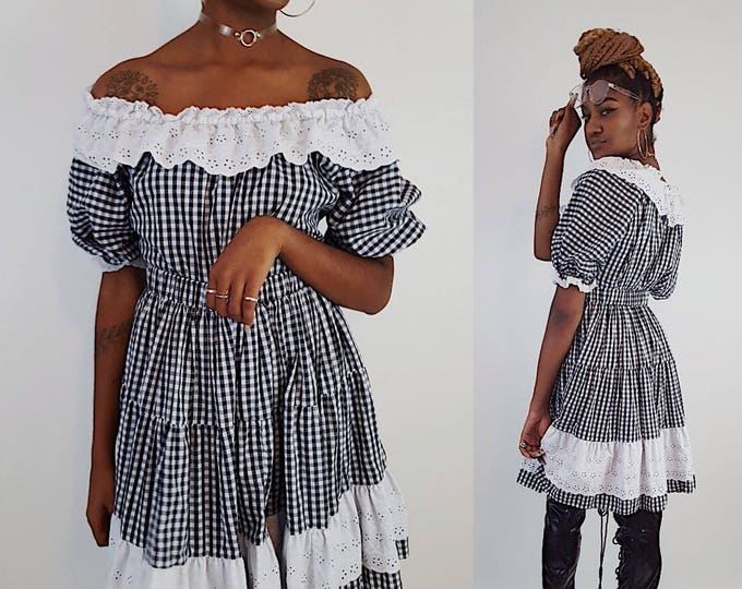 Vintage Ruffle Two Piece Top + Skirt Medium - Womens Ruffled Vtg All Over Pattern Plaid Black + White Lolita Dress Coords 2 pc Matching Set