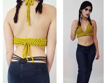 HANDMADE Crochet Bra Top - Womens Upcycled Small Yellow Summer Bralette - Open Back Halter - Womens Eco Friendly Top - Boho Festival Crop