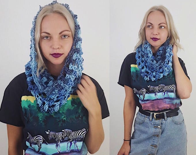 Handknit Handmade Ombre Blue Circle Scarf - Boho Hipster Art Fashion Womens Accessory - Soft Cloud Warm Fall Upcycled Yarn Womens Cowl Scarf