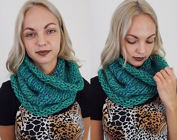 Handknit Handmade Green Blue Circle Scarf - Boho Hipster Art Fashion Womens Accessory - Soft Teal Warm Fall Winter Upcycled Yarn Cowl Scarf