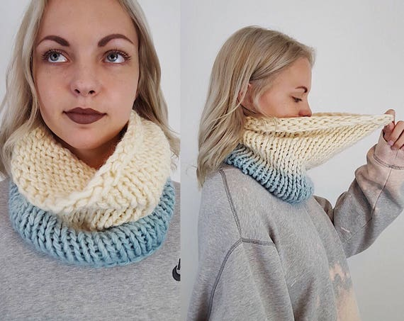 Handknit Handmade Cream Blue Ombre Circle Scarf - Boho Hipster Art Fashion Womens Accessory - Soft Warm Fall Upcycled Yarn Womens Cowl Scarf