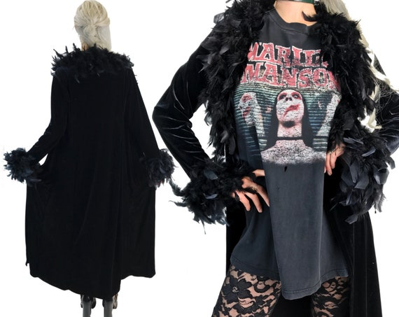 90's Feather Trim Long Black Velvet Duster Size S/M - Black Statement Robe Glam Goth Feather Boa Top Layering Jacket Vintage Street Style